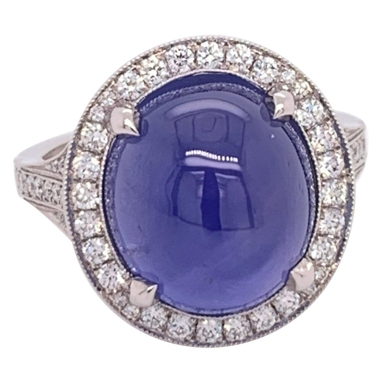 Platinum Cabochon GIA 10.35 Carat Natural Star Sapphire Ring For Sale