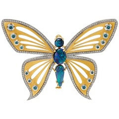 Giulians 18k Australian Black Opal and Diamond Butterfly Brooch
