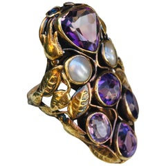 Antique Art Nouveau Amethyst and Natural Pearl 14 Karat Yellow Gold Shield Ring