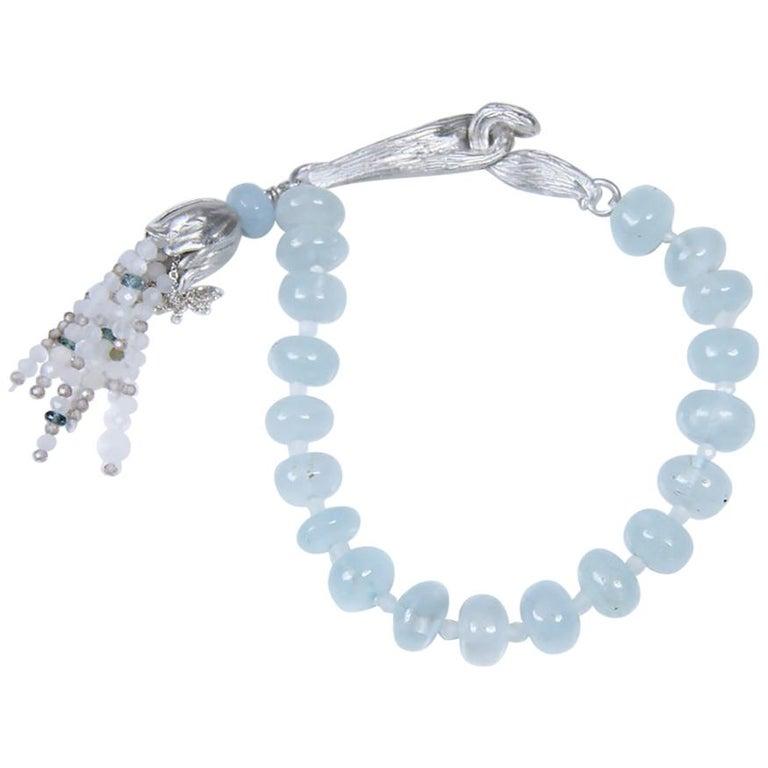 White Orchid Studio Beaded Tassel Bracelet Aqua Moonstone Topaz Silver For Sale