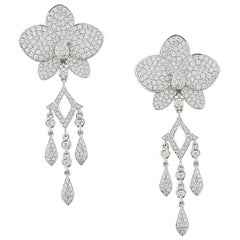 Diamond Flower Chandelier Drop Gold Earrings