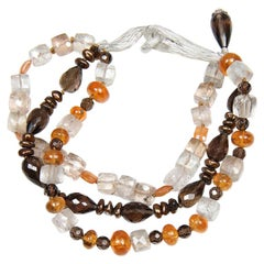 Autumn Glory: Three-Strand Bracelet-Gems of Autumn Colors Gold