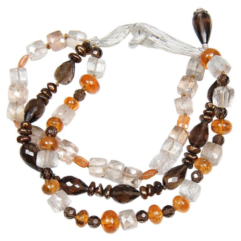 White Orchid Studio Bead Bracelet Precious Topaz Quartz Mandarin Garnet Pearls For Sale