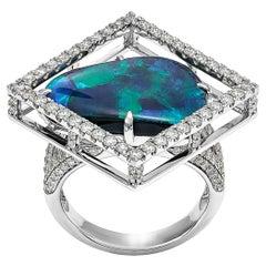 Giulians Contemporary 18k 7.88ct Australian Black Opal and Diamond Ring