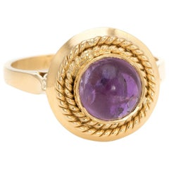 Vintage Cabochon Amethyst Ring 18 Karat Gold Stacking Round Estate Jewelry