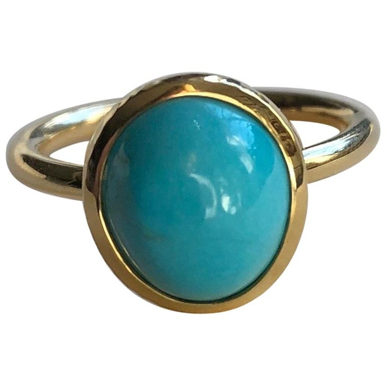 Untreated Turquoise and 18 Karat Gold Cocktail Ring For Sale