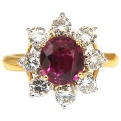 GIA Certified 3.20 Carat No Heat Natural Ruby Diamonds Ring 14 Karat