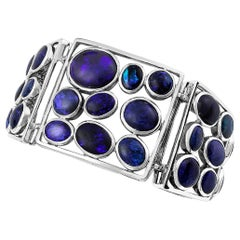 Giulians Contemporary Sterling Silver Australian Black Opal bracelet