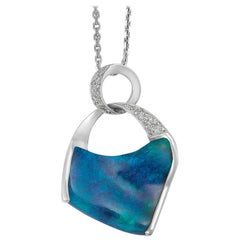 Giulians Contemporary 18k 8.44ct Australian Black Opal Pendant Necklace