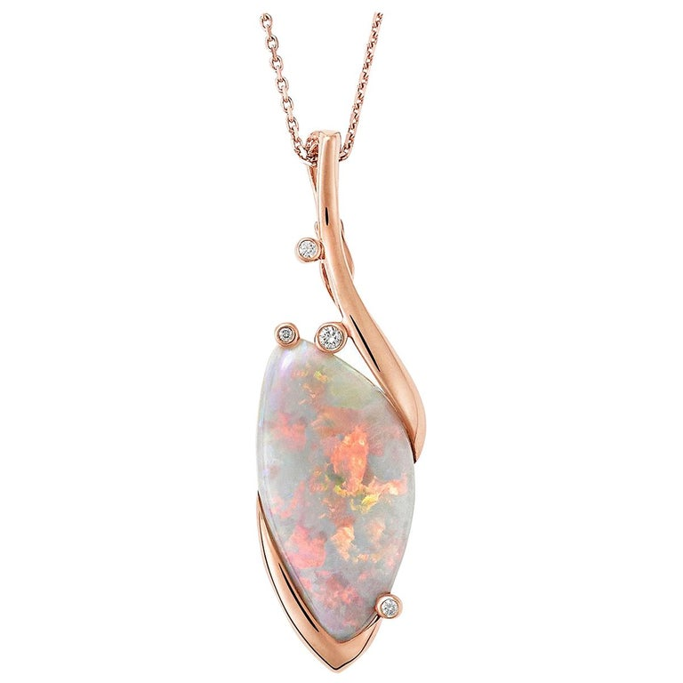 Giulians Contemporary 18k 13.60ct Australian Black Opal and Diamond Necklace For Sale