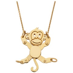 Giulians 18k Yellow Gold Movable Monkey Necklace Pendant