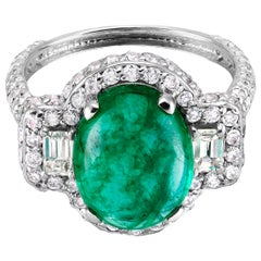Cabochon Colombian Emerald and Diamond Cluster Cocktail Ring Weighing 7.35 Carat