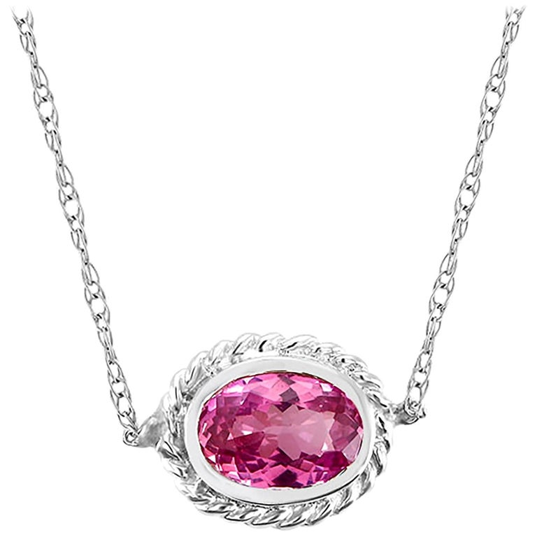 White Gold Pink Sapphire and Diamond Pendant Necklace Weighing 0.73 Carat For Sale