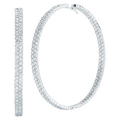Pave Diamond Hoop Earrings Inside Out 14.80 Carat 18 Karat White Gold