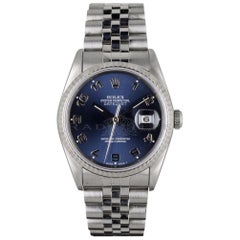 Rolex 16234 Datejust S-Serial Blue Arabic Dial 18k White Gold & Steel Automatic