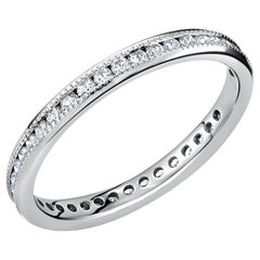 Platinum Diamond Eternity Band Fine Milgrain Edge