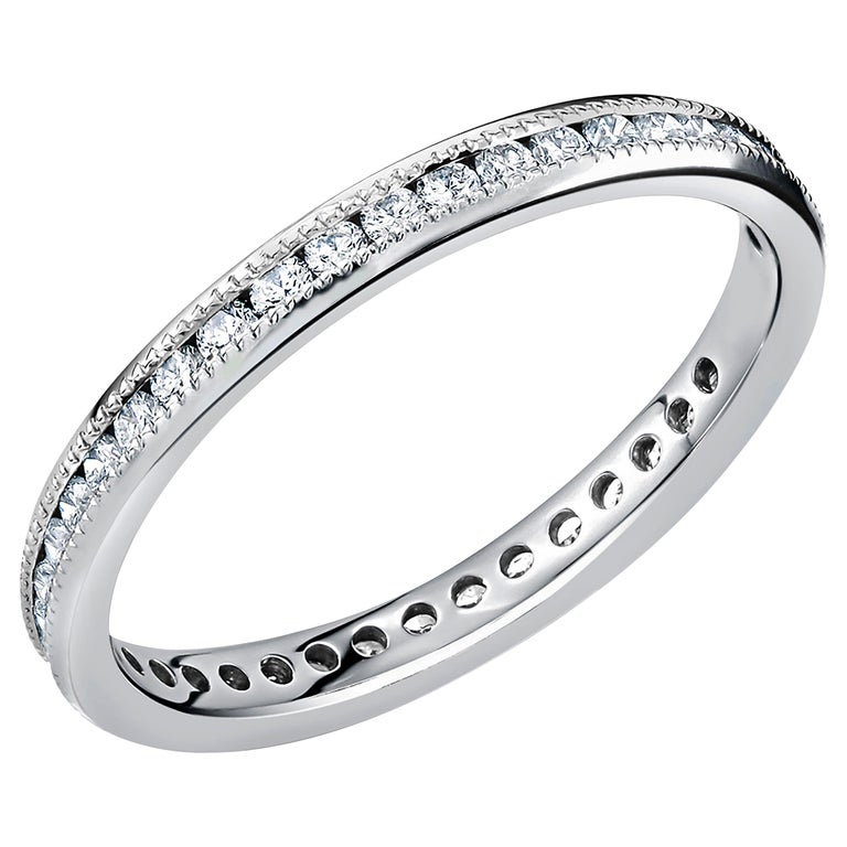 Platinum Diamond Eternity Band Fine Milgrain Edge For Sale