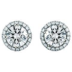 Halo Set of Round Diamond Stud Earrings .22 Carat 18 Karat White Gold Push Backs