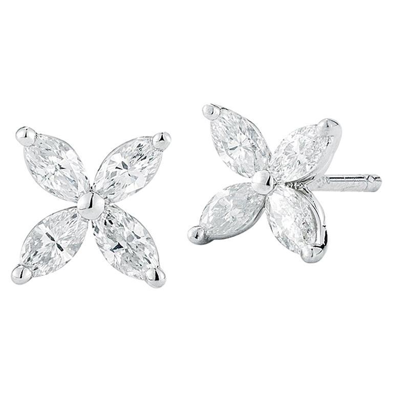 Marquise Diamond Flower Stud Earrings 0.80 Carat