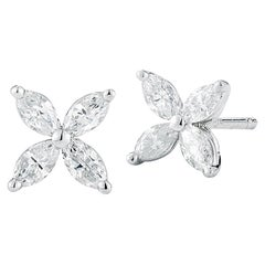 Marquise Diamond Flower Stud Earrings 0.80 Carat