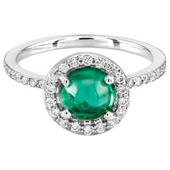 Cabochon Emerald Diamond Cluster Cocktail Ring Weighing 1.45 Carat