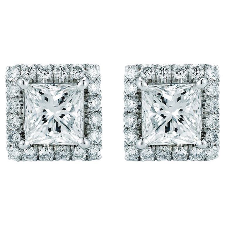 Princess Cut Halo Diamond Stud Earrings 0.95 Carat