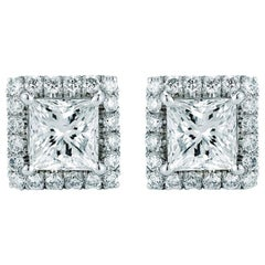 Princess Cut Halo Diamond Stud Earrings 0.95 Carat