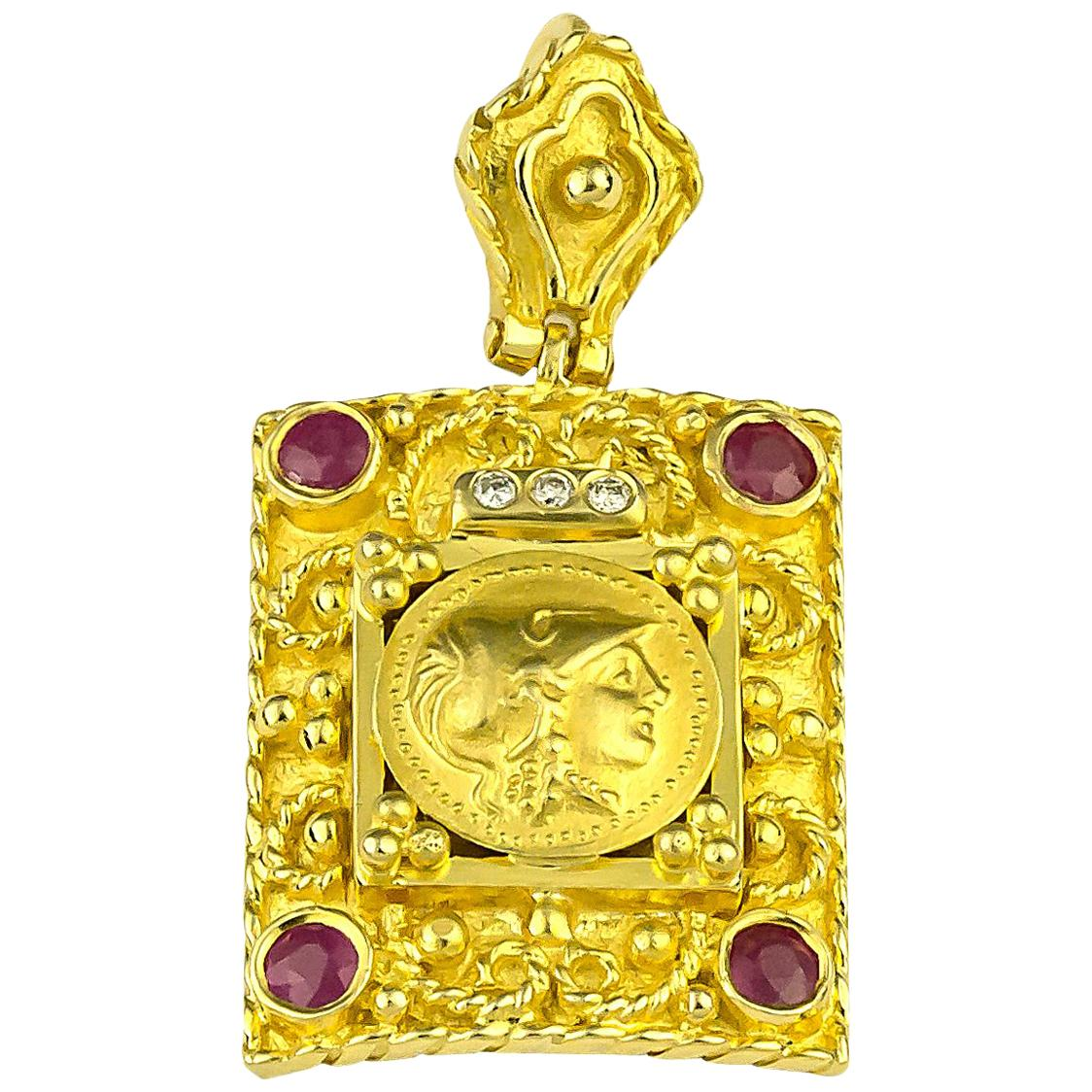 Georgios Collections 18 Karat Yellow Gold Diamond Ruby Coin Pendant of Athena