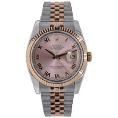 Rolex Datejust Stainless Steel and Rose Gold Pink Roman Dial Watch 116231