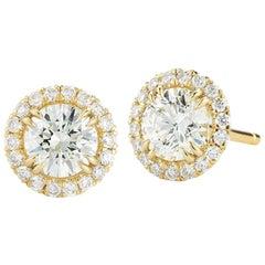 Round Halo Diamond Stud Earrings 1.03 Carat 18 Karat Rose Gold