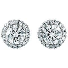 Round Halo Diamond Stud Earrings 0.59 Carat 18 Karat White Gold