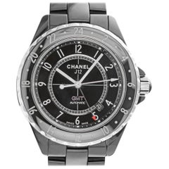 Chanel H2012 GMT J12 Black Ceramic Swiss Automatic Movement Watch with Date