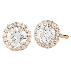 Round Halo Diamond Stud Earrings 1.00 Carat 18 Karat Rose Gold