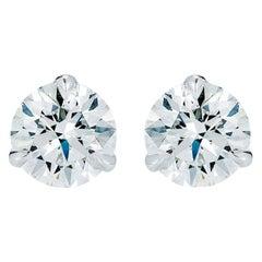 3 Prong Round Diamond Stud Earrings Mounting Setting Only 18 Karat White Gold