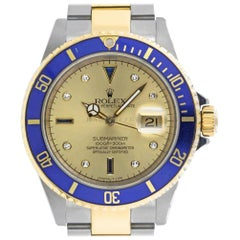 Rolex 16613 Sub K Champagne Serti Submariner Stainless Steel & 18Kt Yellow GOLD