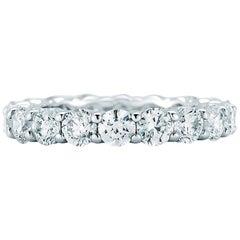 Platinum Round Cut Diamond Eternity Band 4 Carat