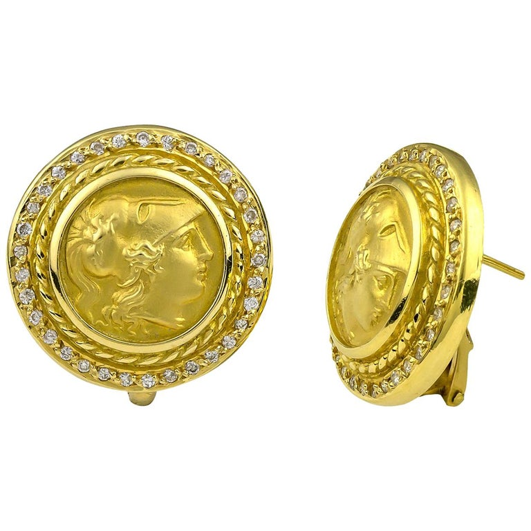 Georgios Collections 18 Karat Yellow Gold Diamond Coin Stud Earrings of Athina For Sale