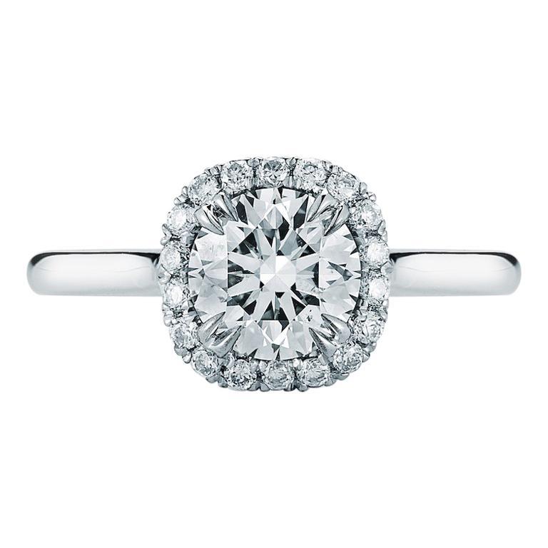 Round Diamond Halo Engagement Ring in Platinum 0.82 Carat F VS1 GIA
