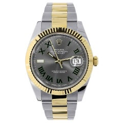 Rolex Datejust Steel and Yellow Gold Green Roman Dial Watch 126333