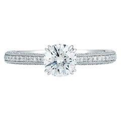 Round Cut Solitaire Triple Pave Diamond Engagement Ring in Platinum 2.25 Carat