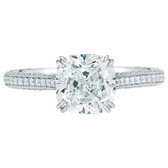 Cushion Cut Solitaire Triple Pave Diamond Engagement Ring in Platinum 2.80 Carat