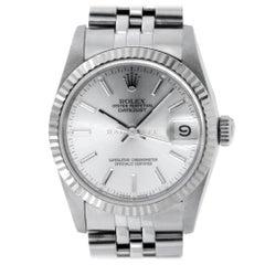 Rolex 68274 L Datejust Steel Silver Stick Dial 18kt White GOLD Bezel Automatic