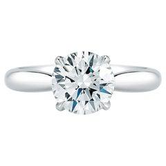 Round Cut Solitaire Diamond Engagement Ring in Platinum 1.40 Carat F SI1 GIA