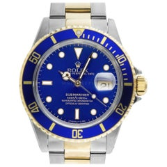 Rolex 16613 U Sub Blue Submariner Stainless Steel and 18 Karat Yellow Gold Diver