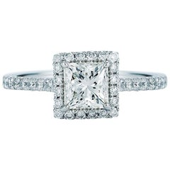 Princess Cut Halo Diamond Engagement Ring in Platinum 1.74 Carat