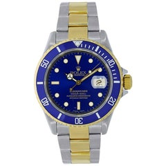 Rolex Submariner Stainless Steel Yellow Gold Blue Dial Watch 16613