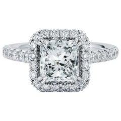 Radiant-Schliff Halo Diamant Verlobungsring in Platin 2.25 Karat