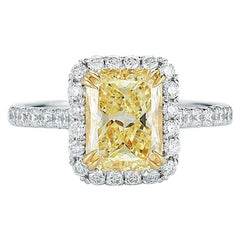 Fancy Yellow Radiant Cut Halo Diamond Engagement Ring Platinum 2.14 Carat