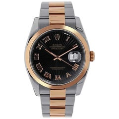 Rolex Datejust Steel and 18 Karat Rose Gold Black Roman Dial Watch 116201