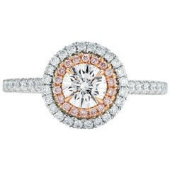 Double Halo Pink Diamond Round Cut Engagement Ring Platinum 1.17 Carat